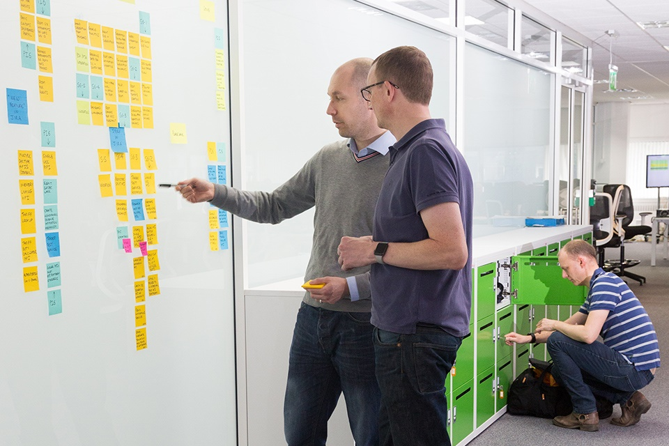 Using post it notes on a whiteboard