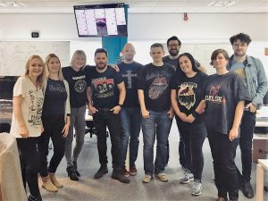 Lee and some of the team supporting t-shirt day