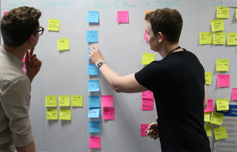 Two males sticking brightly coloured sticky notes to a whiteboard