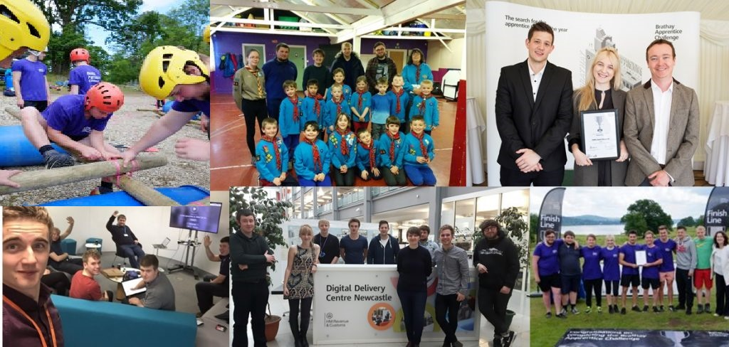 HMRC digital apprentices in 6 images. Apprentices building a raft with wooden poles. A group of cub scouts. Two apprentices accepting an award. A group of apprentices wave and take a selfie. The Newcastle apprentices stand in the digital delivery centre. A group of apprentices accept an award outside in front of a lake