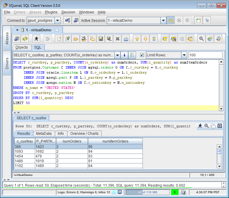 A screenshot of  SQL Squirrel coding