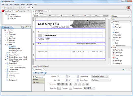 A screenshot of Jaspersoft Studio
