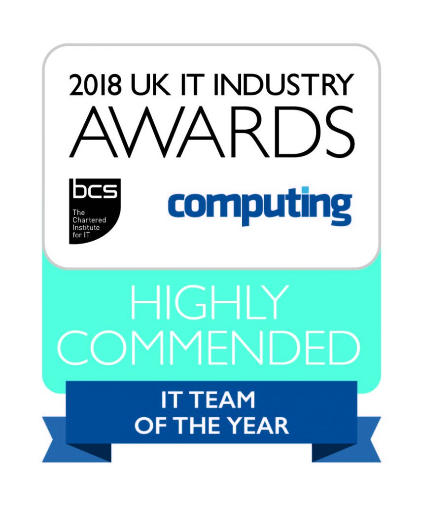 2018 UK IT Industry Awards Highly Commended winners logo for IT Team of the Year