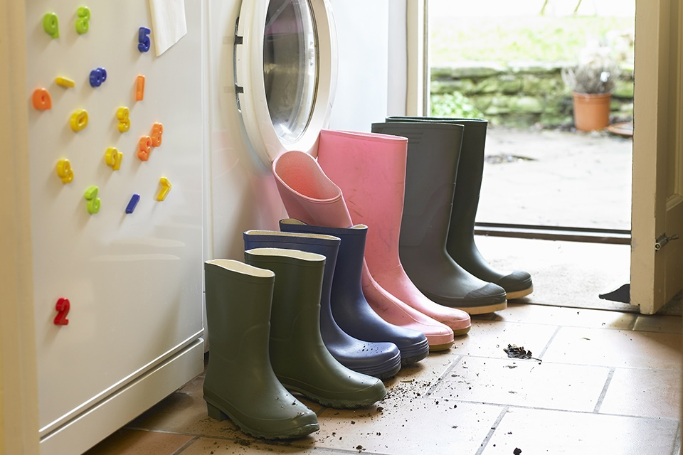 washing machine and wellies