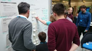 User researchers are gathered around a whiteboard discussing and putting up post it notes