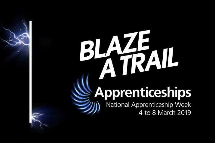 The National Apprenticeship Week logo which says Blaze a Trail, Apprenticeships, National Apprenticeship Week 4 to 8 March 2019