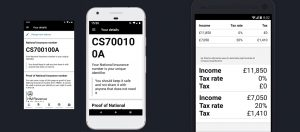 Three screen shots of mobile app pages on a phone