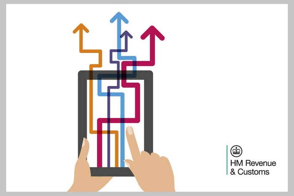 A graphic showing a hand holding a tablet with coloured arrows and the HMRC logo
