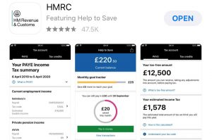 A screen shot of the HMRC mobile app on the AppStore