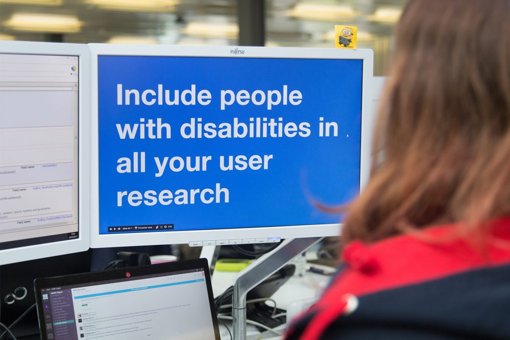 Screen with the words include people with disabilities in all your user research
