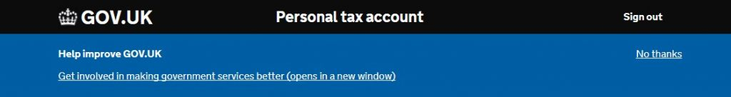 A screenshot of the banner placed on HMRC gov.uk pages