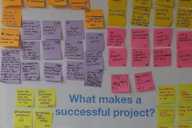 Coloured sticky notes arranged in groups on wall. In the middle is a title 'What makes a successful project?'