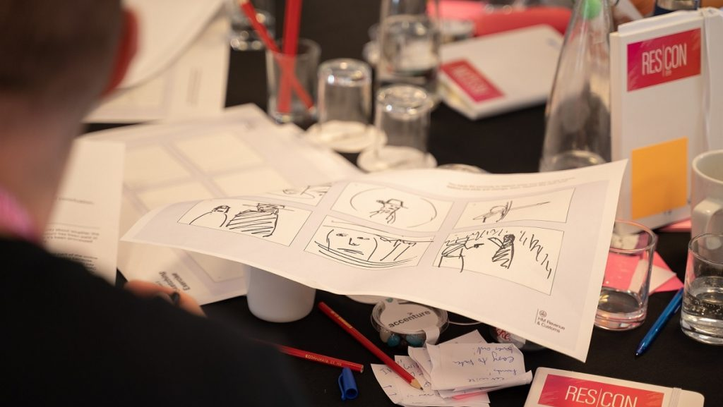 Image of an attendees drawings as part of a workshop session
