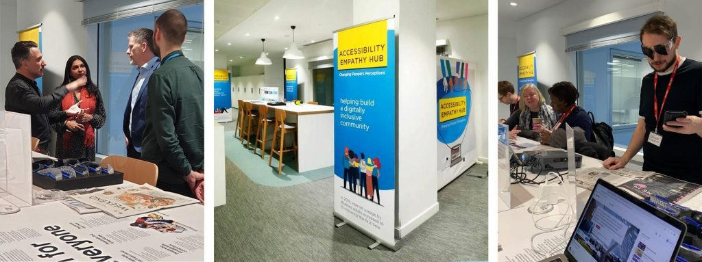 Montage of pictures from the launch of the HMRC Accessibility Empathy Hub