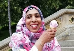 Robina Bashir eating an ice cream