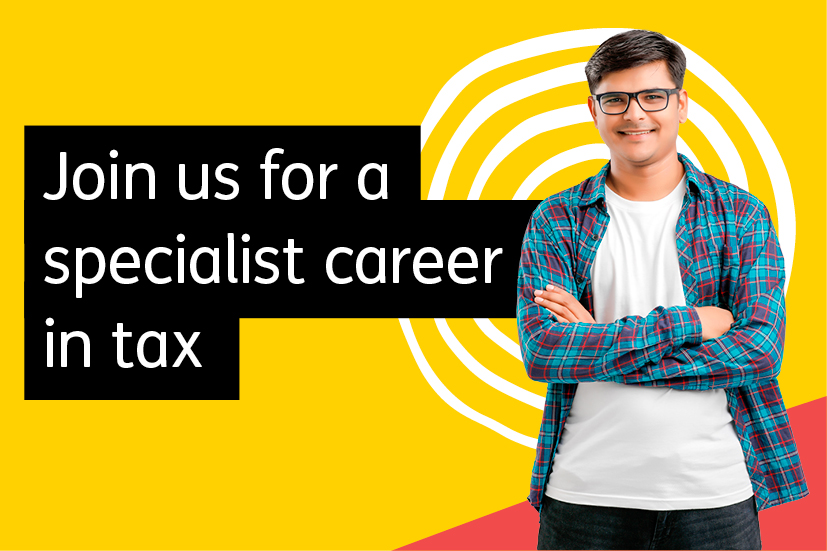 Image with 'Join us for a specialist career in tax' text